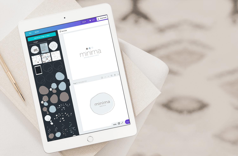 Minima Design Working on Logo Designs in Canva